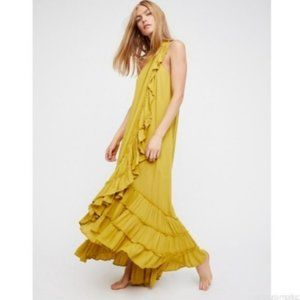 NWT Chartreuse Free People Endless Summer Wrap Around Ruffle Maxi Dress XS